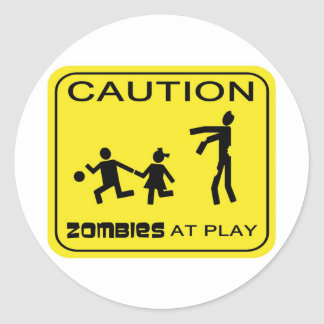 Zombies At Play Caution Sticker