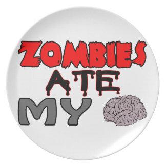 Zombies Ate My Brain Dinner Plate