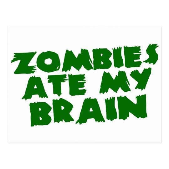 Zombies Ate My Brain Postcard
