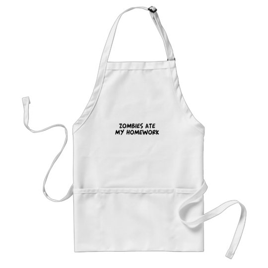 Zombies ate my homework adult apron