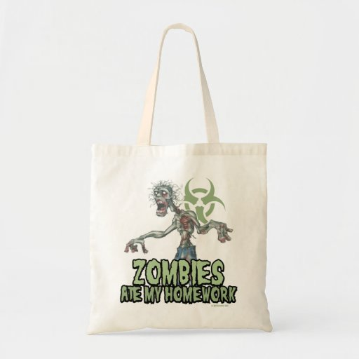 Zombies Ate My Homework Canvas Bags