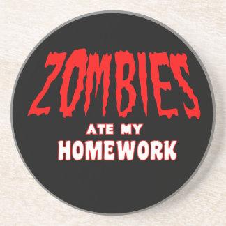 Zombies Ate My Homework Sandstone Coaster