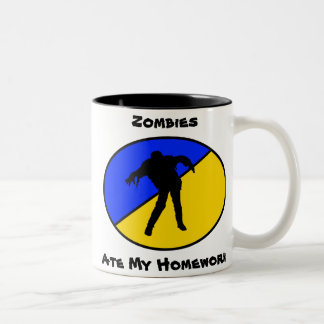 Zombies ate my homework Two-Tone coffee mug