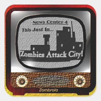 Zombies Attack City! Square Sticker