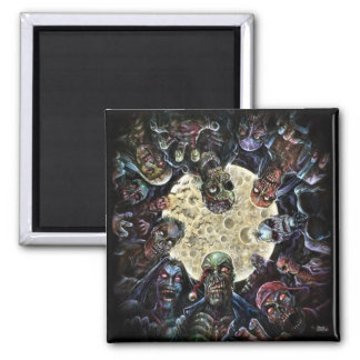 Zombies Attack (Zombie Horde) 2 Inch Square Magnet