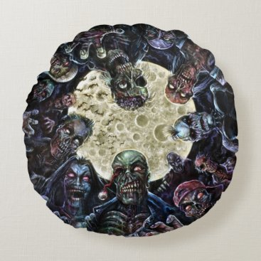 themonsterstore Zombies Attack (Zombie Horde) Round Pillow