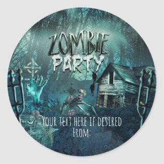 Zombies Birthday Party Fun Favor Classic Round Sticker
