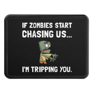 Zombies Chase Us Tripping Trailer Hitch Covers