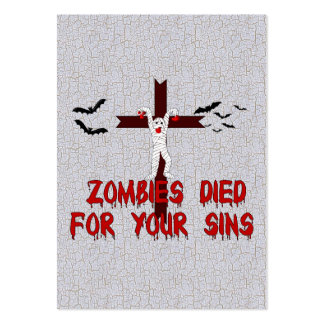 Zombies Died For Your Sins Large Business Card