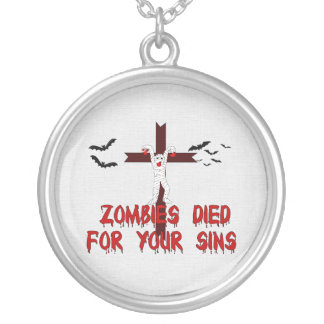 Zombies Died For Your Sins Round Pendant Necklace