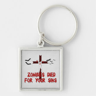 Zombies Died For Your Sins Silver-Colored Square Keychain