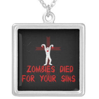 Zombies Died For Your Sins Square Pendant Necklace