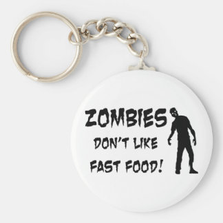 Zombies Don't Like Fast Food Keychain