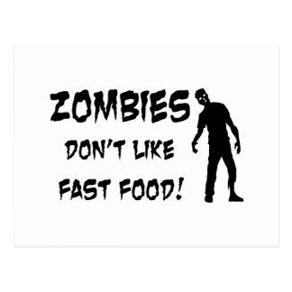 Zombies Don't Like Fast Food Postcard