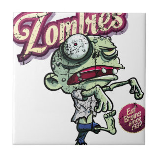 Zombies eat Brains Azulejo Ceramica