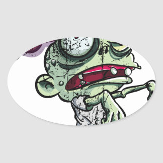Zombies eat Brains Calcomanías Ovaladas Personalizadas