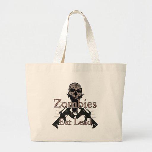 Zombies eat lead jumbo tote bag
