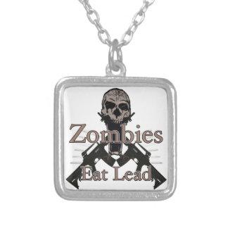 Zombies eat lead square pendant necklace