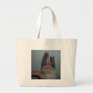 Zombies Eating Brains Funny Zombie Fingers Painted Canvas Bags