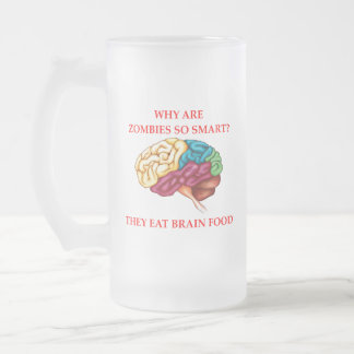 zombies frosted glass beer mug