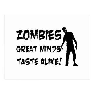 Zombies Great Minds Taste Alike Postcard