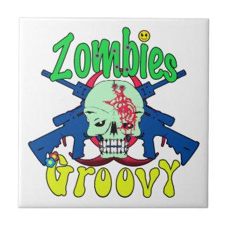 Zombies Groovy 70s Ceramic Tile