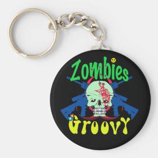 Zombies Groovy 70s Keychain