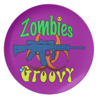Zombies Groovy Dinner Plate