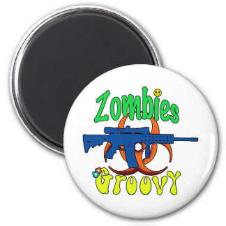 Zombies groovy 2 inch round magnet