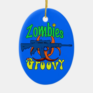 Zombies Groovy Double-Sided Oval Ceramic Christmas Ornament