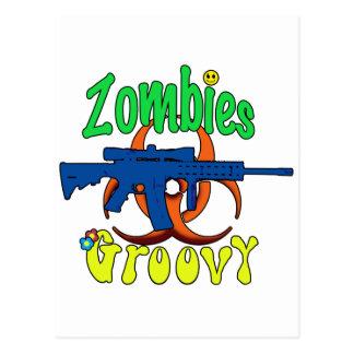 Zombies groovy postcard