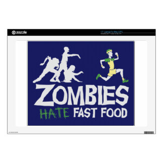 "Zombies HATE Fast Food 17"" Laptop Decals"