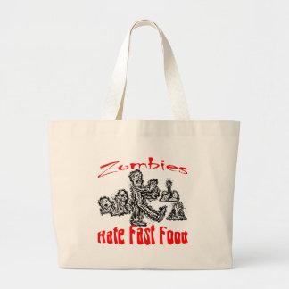Zombies Hate Fast Food Jumbo Tote Bag