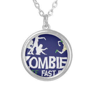 Zombies HATE Fast Food Round Pendant Necklace