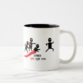 Zombies hate fast food Two-Tone coffee mug