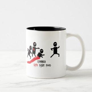 Zombies hate fast food Two-Tone coffee mug