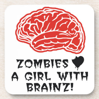 Zombies Heart A Girl With Brainz Coaster