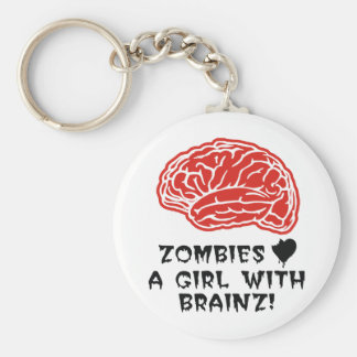 Zombies Heart A Girl With Brainz Basic Round Button Keychain