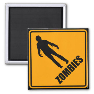 Zombies Icon Yellow Diamond Warning Road Sign 2 Inch Square Magnet