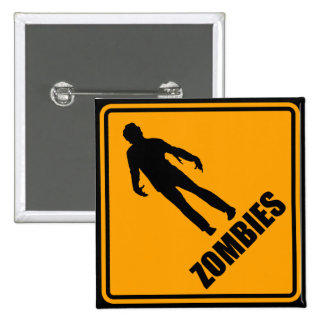 Zombies Icon Yellow Diamond Warning Road Sign 2 Inch Square Button