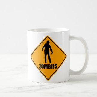 Zombies Icon Yellow Diamond Warning Road Sign Mugs