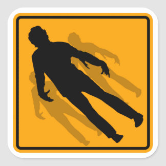 Zombies Icon Yellow Diamond Warning Road Sign Square Stickers