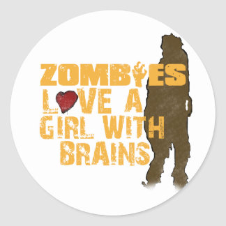 Zombies Love A Girl Classic Round Sticker