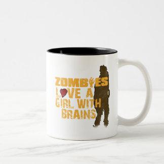 Zombies Love A Girl Two-Tone Coffee Mug