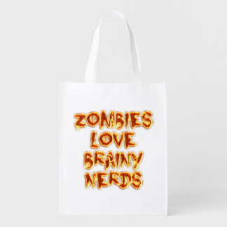 Zombies Love Brainy Nerds Reusable Grocery Bags