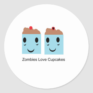 Zombies Love Cupcakes Round Stickers