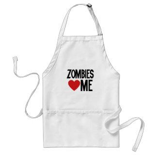 Zombies love me adult apron