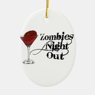 Zombies Night Out Ceramic Ornament