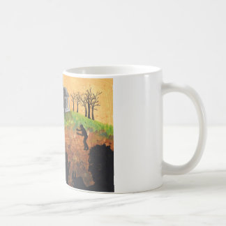 Zombies on a Farm living dead art coffee mug