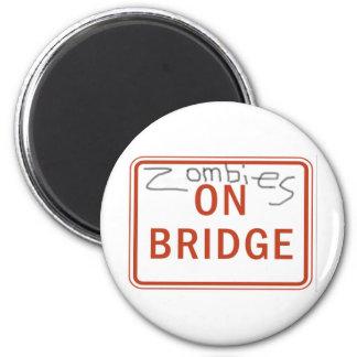 Zombies on Bridge 2 Inch Round Magnet